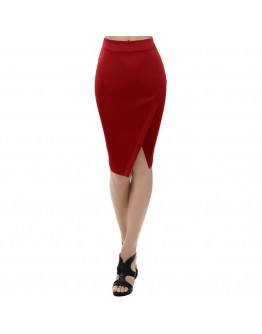 Women Red Slit Spilt Ladies Knee length Short Sexy Office Skirt