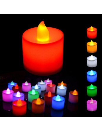 Colourful Battery operated LED candles this festive season set of 12pcs