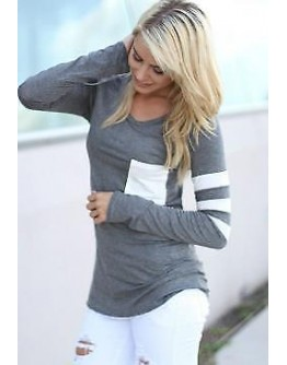 Women Top Long Sleeve Pocket Grey Striped Classy Causal Winter Tee