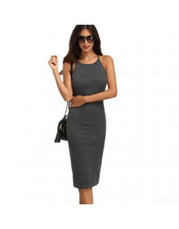 Women  Dress Grey Crisscross Backless Sleeveless Sheath Slim bodycon summer dress
