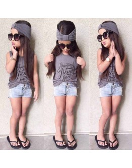 Kids Girl 3 Pcs Sleeveless Tops Denim Shorts Headband Clothing Set