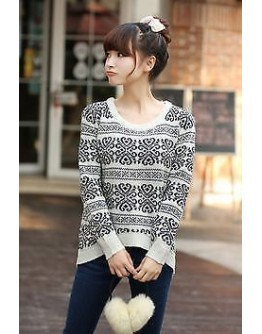 Women Top Loose Knitted sweater warm blouse