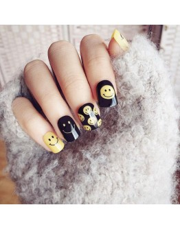 Water Transfer Nails Art Sticker Emotion Emoji Yellow Smile Nail Wrap Sticker