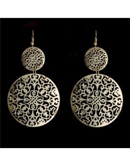 Golden Round Hollow Drop Earrings for Women