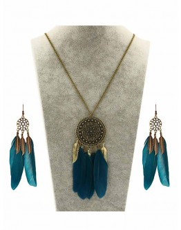 Bohemian Vintage Hollow Out Long Feather Leaf Tassel Earing & Necklace Set