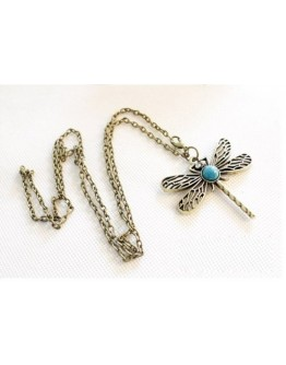 Women Lovely Bronze Hollow Wing Dragonfly Pendant Long Chain Retro Style