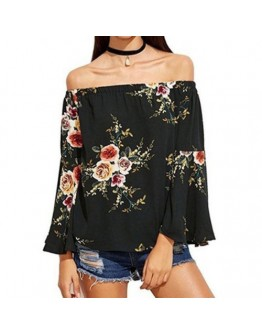 Women  Off shoulder top Casual Floral print Slash Neck long sleeve blouse