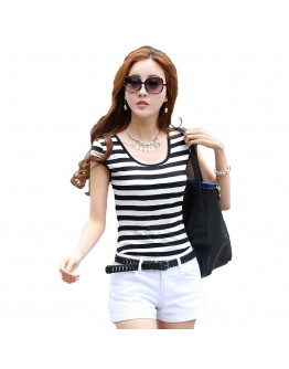 Black & White Striped Short Sleeve T-Shirt