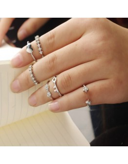 6Pcs Alloy Finger Knuckle Rings Set
