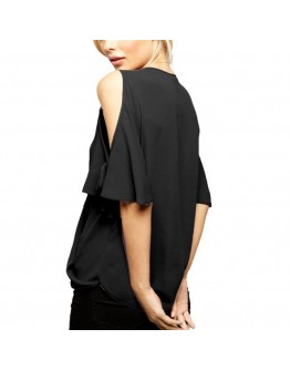 Women  Top Chiffon Casual Half Sleeve Lady Slim V-Neck Female Party Shirt