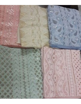 Cotton Chikankari Fabric Material