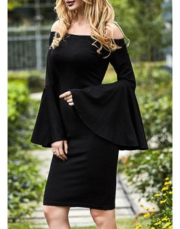 Black Long Sleeve Slim Bodycon Dress