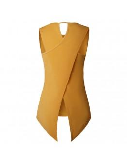 Women  Top Yellow Sexy Asymmetry Hollow Out Fashion Sleeveless Long Top