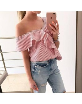Women off shoulder top Short Sleeve Striped Sexy Party Shirt