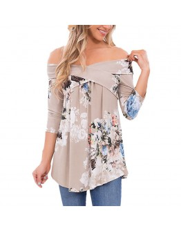 Women off shoulder Top Floral Print Three Quarter Sleeve Elegant Shirt
