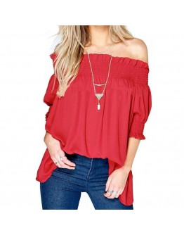 Women off shoulder Top Sexy Boho Femme Half Sleeve Blouse Red