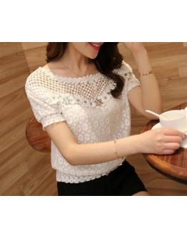 Women tops Lace Slim Beaded Embroidery Neck Hollow Crochet Chiffon Shirt