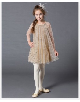 Kids Party Dress Dot Mesh Long Sleeve Robe Fille Wedding Princess Dress