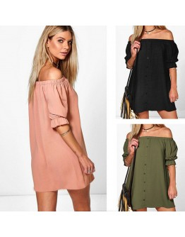 Women Off Shoulder Dresses Solid Sexy Classy Party Shirt Dresses