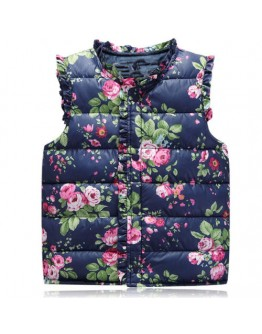 Kids Coat Jacket Baby Girls Winter Floral Vest Outerwear Waistcoat