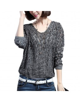Women  top Pullover V-neck Long Batwing Sleeve Casual Loose Hollow Sexy T-shirt
