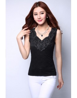 Women Lace Tank Top Sexy Sleeveless Black Vest Floral Ladies Tees