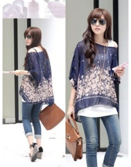 Women Top Casual Fashion Chiffon O-neck Blouse Batwing Sleeve Floral Shirts
