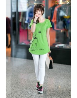 Women T-shirt Short Sleeve Solid Color Long Stylish comfortable Top