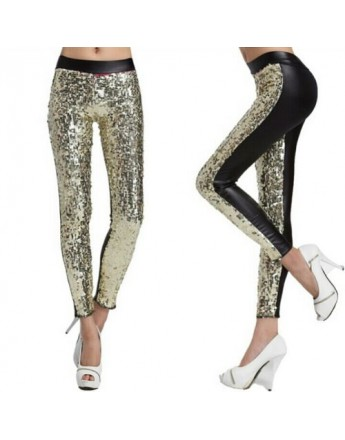 Women sequin leggings gold fashionable stylish pant