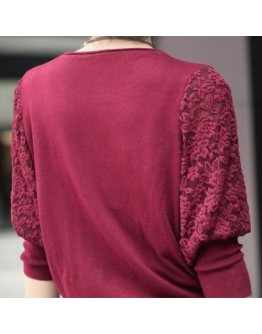 Women Top Elegant Batwing Lace Hollow full Sleeve pullover Loose Top