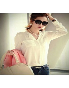 Have one to sell? Sell it yourself Women White Chiffon full sleeve office wear casual shirt top