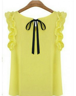 Women Lace Bow Chiffon Yellow Sleeveless Top