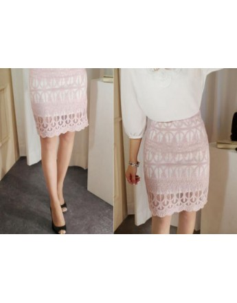 Women Skirt Summer Elegant Hollow Out Slim Package Hip High Waist Pencil Skirt