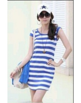 Blue Fashion Women Casual Stripe sleeveless Dress