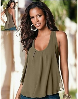 Women  Army Green Chiffon Sleeveless Tank Top