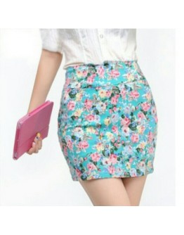 Women Floral print elastic Green short skirt
