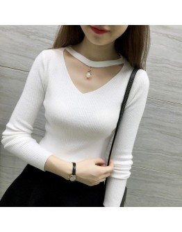 Women V-neck pearl sexy pullover Slim knit bottoming thin stretch sleeve Shrit