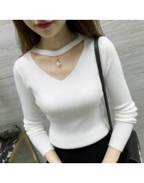 Women Top V-neck pearl sexy pullover Slim knit bottoming thin stretch sleeve Shrit