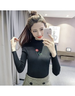 Women top winter turtleneck pullover slim long-sleeve basic shirt female Tshirt