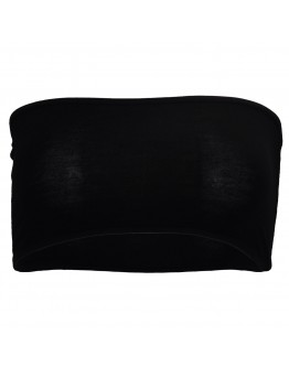 Women Black Sexy Strapless Boob Tube Bandeau Bra Wiping Clubwear Crop Stretch