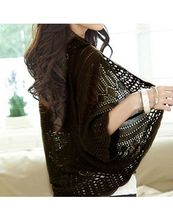 Women Woolen Coat Fashion Crochet Kimono Hollow Knitwear Tops Outwear