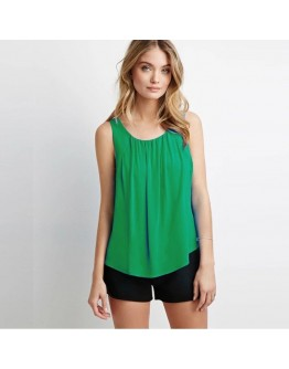 Women Top New Fashion Casual Sleeveless O Neck classy Chiffon T-Shirt
