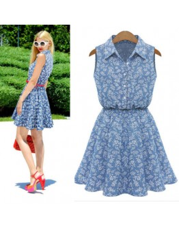 Women new trendy collar casual floral print blue sexy summer dress