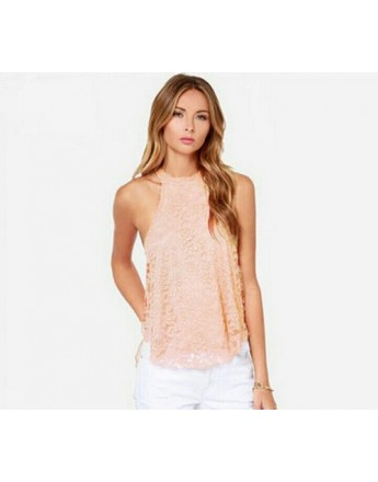 Women pink sexy classy sleeveless floral lace top