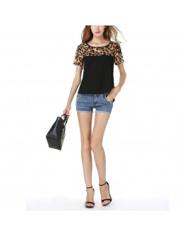 Women Top Summer Chiffon Leopard Print Patchwork Feminina Casual Blouse
