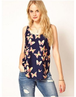Women Top European Butterfly Print Vest Sleeveless Chiffon Soft Summer Shirt