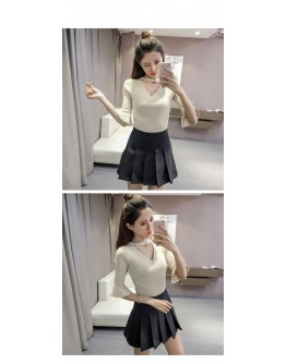 Women  Beige top Half Flare sleeve Casual Ladies Knitted V-neck Shirt