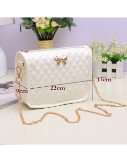 Women Shoulder Bag Pu Leather Solid Color Zipper Bow tie Party Crossbody bag