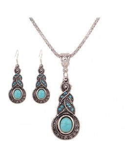 Women Vintage Retro Pattern Blue Stone Pendant Necklace Earring set