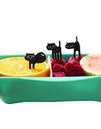 Fruits fork creative black cat 6pcs